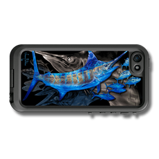 """iPhone 5, 5s & 5c fine art LifeProof Skin"" by artist Jason Mathias: Carry around this unique piece of personalized art of a mighty Blue Marlin and Yellowfin Tuna while protecting your phone all at the same time!"