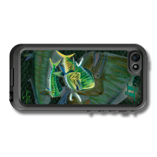 """iPhone 5, 5s & 5c fine art LifeProof Skin"" by artist Jason Mathias: Carry around this unique piece of personalized art of a lit up Mahi, Dorado or Dolphin while protecting your phone all at the same time!"