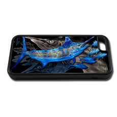 """iPhone 6 fine art phone case"" by artist Jason Mathias: Carry around this unique piece of personalized art of a Blue Marlin chasing a school of Yellowfin Tuna while protecting your phone all at the same time!"
