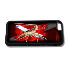 """iPhone 6 fine art phone case"" by artist Jason Mathias: Carry around this unique piece of personalized art of a Spiny Lobster with a dive flag while protecting your phone all at the same time!"