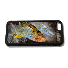 """iPhone 6 fine art phone case"" by artist Jason Mathias: Carry around this unique piece of personalized art of a brilliant snook ambushing finger mullet and greenies while protecting your phone all at the same time!"