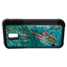 """Samsung Galaxy S5 fine art phone case"" by artist Jason Mathias: Carry around this unique piece of personalized art of a lit up Blue Marlin schooling up a ball of Tuna while protecting your phone all at the same time!"