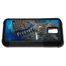 """Samsung Galaxy S5 fine art phone case"" by artist Jason Mathias: Carry around this unique piece of personalized art of a lit up Striped Marlin schooling up a baitball while protecting your phone all at the same time!"