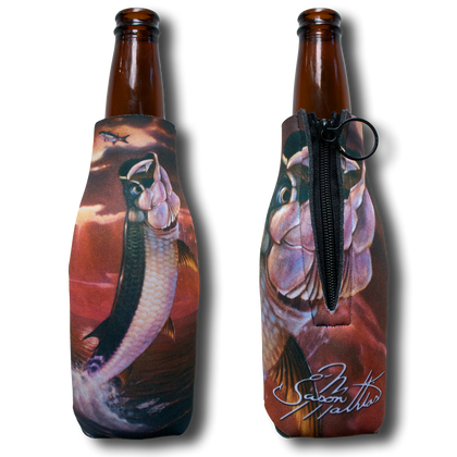 "Jason Mathias Fine Art Bottle Koozies & Coolie Cups: Featuring ""Golden Moments"" a massive jumping tarpon after a school of mullet against a blazing sunset!  Sport your very own Jason Mathias Tarpon Coolie Cup when fishing, on a sunset cruises, at a barbeque or just hanging out at the sandbar. These awesome bottle suits are sure to keep your beverage ice cold in style!"