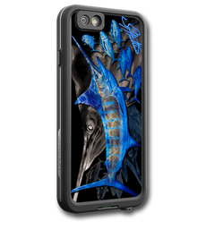 """iPhone 6 fine art LifeProof Skin"" by artist Jason Mathias: Carry around this unique piece of personalized art of a mighty Blue Marlin and Yellowfin Tuna while protecting your phone all at the same time!  Our LifeProof Skins provide supirior quality with a well sheilded waterproof aluminum fine art plate, a special waterproof adhesive that custom fits your Lifeproof case that wont fade.  :LifeProof Cases is not included. The skin isnt a sticker, its a sublimated aluminum plate."