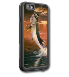 """iPhone 6 fine art LifeProof Skin"" by artist Jason Mathias: Carry around this unique piece of personalized art of a beautiful Tarpon jumping after a school of mullet agaisnt a blazing sunset while protecting your phone all at the same time!  Our LifeProof Skins provide supirior quality with a well sheilded waterproof aluminum fine art plate, a special waterproof adhesive that custom fits your Lifeproof case that wont fade.  :LifeProof Cases is not included. The skin isnt a sticker, its a sublimated aluminum plate."
