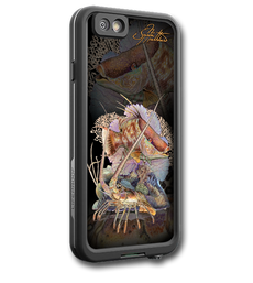 """iPhone 6 fine art LifeProof Skin"" by artist Jason Mathias: Carry around this unique piece of personalized art of a beautiful Hogfish and Lobster defending a coral reef while protecting your phone all at the same time!  Our LifeProof Skins provide supirior quality with a well sheilded waterproof aluminum fine art plate, a special waterproof adhesive that custom fits your Lifeproof case that wont fade.  :LifeProof Cases is not included. The skin isnt a sticker, its a sublimated aluminum plate."