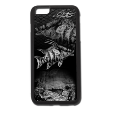 "iPhone 6 Plus fine art phone case"" by artist Jason Mathias: Carry around this unique piece of personalized art of a spearfishing scene with a lit up Hogfish or Hog Snapper over a lobster hole, while protecting your phone all at the same time!   Our phone cases provide supirior quality with a double layer of protection- outer ABS plastic shell and rubber honeycomb inside for shock absorption and a well shielded sublimated aluminum fine art plate that wont fade.  Case provides effective protection from dust, damage or any other unexpected situations."