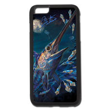 "iPhone 6 Plus fine art phone case"" by artist Jason Mathias: Carry around this unique piece of personalized art of an awesome underwater night scene of a broadbill Swordfish rising up from the deep after a school of squid and deep water jellyfish while protecting your phone all at the same time!  Our phone cases provide supirior quality with a double layer of protection- outer ABS plastic shell and rubber honeycomb inside for shock absorption and a well shielded sublimated aluminum fine art plate that wont fade.  Case provides effective protection from dust, damage or any other unexpected situations."