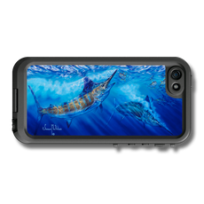 """iPhone 5, 5s & 5c fine art LifeProof Skin"" by artist Jason Mathias: Carry around this unique piece of personalized art of a mighty Blue Marlin and Yellowfin Tuna while protecting your phone all at the same time!  Our LifeProof Skins provide supirior quality with a well sheilded waterproof aluminum fine art plate, a special waterproof adhesive that custom fits your Lifeproof case that wont fade.  :LifeProof Cases is not included. The skin isnt a sticker, its a sublimated aluminum plate."