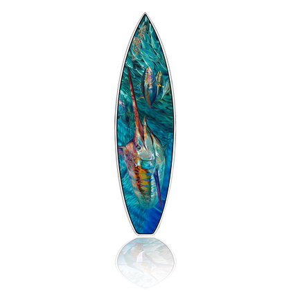 "Jason Mathias Fine Art Surfboards featuring a beautiful Blue Marlin and Tuna painting with a high gloss finish. This work of art comes with a FCS Fin system and has more rocker and a triple concave bottom for high performance surfing.. This is a '6.1"" SS high performance surfboard shaped by R&D Surf.  Jason Mathias Fine Art Surfboards are a true work of art. We use HG Photocloth which is a proprietary fabric using our exclusive process to produce graphics that can be laminated onto a surfboard. When properly applied, it produces more vibrantly colored detail and a durable, fully rideable piece of personal art. Our process provides photographic detail unmatched on other cloths. It is produced using UV resistant inks, allowing the board to be used in the sun without fading. HG Photocloth is applied during the glassing process. It is not a sticker or surface decal. Boards are shaped by world class shappers at R&D Surf.  (Made in USA)"