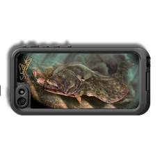 """iPhone 5, 5s & 5c fine art LifeProof Skin"" by artist Jason Mathias: Carry around this unique piece of personalized art of stealthy Flounder or Fluke while protecting your phone all at the same time!  Our LifeProof Skins provide supirior quality with a well sheilded waterproof aluminum fine art plate, a special waterproof adhesive that custom fits your Lifeproof case that wont fade."