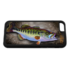 """iPhone 6 fine art phone case"" by artist Jason Mathias: Carry around this unique piece of personalized art of a big Lagemouth Bass while protecting your phone all at the same time!  Our phone cases provide supirior quality- Silicone rubber case with a well shielded sublimated aluminum fine art plate that wont fade.  Case provides effective protection from dust, damage or any other unexpected situations."