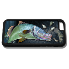 """iPhone 6 fine art phone case"" by artist Jason Mathias: This case fits the iPhone 6 and 6s. Carry around this unique piece of personalized art of a Australian Barramundi while protecting your phone all at the same time!  Our phone cases provide supirior quality with a double layer of protection- outer ABS plastic shell and rubber honeycomb inside for shock absorption and a well shielded sublimated aluminum fine art plate that wont fade.  Case provides effective protection from dust, damage or any other unexpected situations.  (Made in the USA)"