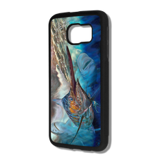 """Samsung Galaxy S6 fine art phone case"" by artist Jason Mathias: Carry around this unique piece of personalized art of a lit up Blue Marlin being stalked by a massive tiger and bullshark all while protecting your phone all at the same time!  Our phone cases provide supirior quality with a layer of protection- outer ABS plastic shell and silicone rubber inside for shock absorption and a well shielded sublimated aluminum fine art plate that wont fade.  Case provides effective protection from everyday damage or any other unexpected situations.  (Made in the USA)"