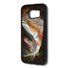 """Samsung Galaxy S6 fine art phone case"" by artist Jason Mathias: Carry around this unique piece of personalized art of a Redfish and Speckled Sea Trout stalking a crab all while protecting your phone all at the same time!  Our phone cases provide supirior quality with a layer of protection- outer ABS plastic shell and silicone rubber inside for shock absorption and a well shielded sublimated aluminum fine art plate that wont fade.  Case provides effective protection from everyday damage or any other unexpected situations.  (Made in the USA)"