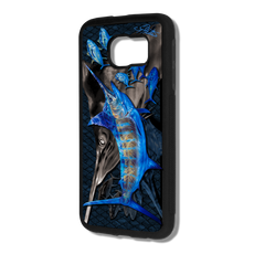 """Samsung Galaxy S6 fine art phone case"" by artist Jason Mathias: Carry around this unique piece of personalized art of a lit up Blue Marlin ambushing a school of yellowfin tuna all while protecting your phone all at the same time!  Our phone cases provide supirior quality with a layer of protection- outer ABS plastic shell and silicone rubber inside for shock absorption and a well shielded sublimated aluminum fine art plate that wont fade."