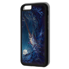 """iPhone 6 fine art phone case"" by artist Jason Mathias: Carry around this unique piece of personalized art of an illusive Swordfish stalking Squid in a underwater night scene while protecting your phone all at the same time!  Our phone cases provide supirior quality with a double layer of protection- outer ABS plastic shell and rubber honeycomb inside for shock absorption and a well shielded sublimated aluminum fine art plate that wont fade.  Case provides effective protection from dust, damage or any other unexpected situations."