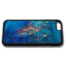 """iPhone 6 fine art phone case"" by artist Jason Mathias: Carry around this unique piece of personalized art of a brightly lit up Blue Marlin balling up a school of Tuna while protecting your phone all at the same time!  Our phone cases provide supirior quality with a double layer of protection- outer ABS plastic shell and rubber honeycomb inside for shock absorption and a well shielded sublimated aluminum fine art plate that wont fade.  Case provides effective protection from dust, damage or any other unexpected situations."