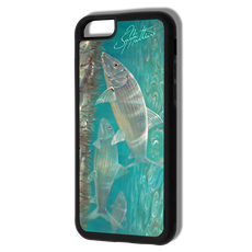 """iPhone 6 fine art phone case"" by artist Jason Mathias: Carry around this unique piece of personalized art of a silvery Bonefish stalking the flats while protecting your phone all at the same time!  Our phone cases provide supirior quality with a double layer of protection- outer ABS plastic shell and rubber honeycomb inside for shock absorption and a well shielded sublimated aluminum fine art plate that wont fade.  Case provides effective protection from dust, damage or any other unexpected situations."