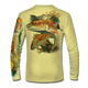 "Back view on pale yellow.   This shirt is truly awesome, featuring Jason Mathias's ""Redfish"" fine art design sublimated onto our superior technology that definitely makes for a top favorite among all anglers and outdoor enthusiast world wide!  Say goodbye to sunburns and say hello to the supreme comfort of the Jason Mathias Solar Performance Long Sleeve shirt! This awesome shirt offers superior sun protection and performance qualities. So comfortable that you feel like you're not even wearing a shirt! Shirt doesn't snag or catch which makes it a must when doing what you do best! Featuring up to UPF +50 solar protection, the Solar Performance Long Sleeve is lightweight, comfortable, and sure to keep the sun's rays from penetrating through to your skin. This fabric is powered by PURE-tech™ moisture wicking technology which will keep you cooler in the summer and warmer in the winter.  Fabric: 4.1oz. 