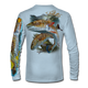 "Back view on arctic blue.   This shirt is truly awesome, featuring Jason Mathias's ""Redfish"" fine art design sublimated onto our superior technology that definitely makes for a top favorite among all anglers and outdoor enthusiast world wide!  Say goodbye to sunburns and say hello to the supreme comfort of the Jason Mathias Solar Performance Long Sleeve shirt! This awesome shirt offers superior sun protection and performance qualities. So comfortable that you feel like you're not even wearing a shirt! Shirt doesn't snag or catch which makes it a must when doing what you do best! Featuring up to UPF +50 solar protection, the Solar Performance Long Sleeve is lightweight, comfortable, and sure to keep the sun's rays from penetrating through to your skin. This fabric is powered by PURE-tech™ moisture wicking technology which will keep you cooler in the summer and warmer in the winter.  Fabric: 4.1oz. 