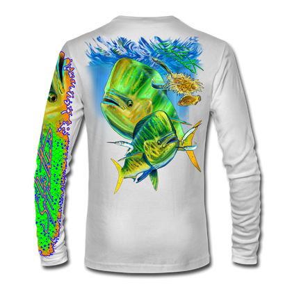 """Back view on white.  This shirt is truly awesome, featuring Jason Mathias's """"Mahi dolphin"""" fine art design sublimated onto our superior technology that definitely makes for a top favorite among all anglers and outdoor enthusiast world wide!  Say goodbye to sunburns and say hello to the supreme comfort of the Jason Mathias Solar Performance Long Sleeve shirt! This awesome shirt offers superior sun protection and performance qualities. So comfortable that you feel like you're not even wearing a shirt! Shirt doesn't snag or catch which makes it a must when doing what you do best! Featuring up to UPF +50 solar protection, the Solar Performance Long Sleeve is lightweight, comfortable, and sure to keep the sun's rays from penetrating through to your skin. This fabric is powered by PURE-tech™ moisture wicking technology which will keep you cooler in the summer and warmer in the winter.  Fabric: 4.1oz. 