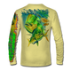 """Back view on pale yellow.  This shirt is truly awesome, featuring Jason Mathias's """"Mahi dolphin"""" fine art design sublimated onto our superior technology that definitely makes for a top favorite among all anglers and outdoor enthusiast world wide!  Say goodbye to sunburns and say hello to the supreme comfort of the Jason Mathias Solar Performance Long Sleeve shirt! This awesome shirt offers superior sun protection and performance qualities. So comfortable that you feel like you're not even wearing a shirt! Shirt doesn't snag or catch which makes it a must when doing what you do best! Featuring up to UPF +50 solar protection, the Solar Performance Long Sleeve is lightweight, comfortable, and sure to keep the sun's rays from penetrating through to your skin. This fabric is powered by PURE-tech™ moisture wicking technology which will keep you cooler in the summer and warmer in the winter.  Fabric: 4.1oz. 