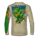 """Back view on tan.  This shirt is truly awesome, featuring Jason Mathias's """"Mahi dolphin"""" fine art design sublimated onto our superior technology that definitely makes for a top favorite among all anglers and outdoor enthusiast world wide!  Say goodbye to sunburns and say hello to the supreme comfort of the Jason Mathias Solar Performance Long Sleeve shirt! This awesome shirt offers superior sun protection and performance qualities. So comfortable that you feel like you're not even wearing a shirt! Shirt doesn't snag or catch which makes it a must when doing what you do best! Featuring up to UPF +50 solar protection, the Solar Performance Long Sleeve is lightweight, comfortable, and sure to keep the sun's rays from penetrating through to your skin. This fabric is powered by PURE-tech™ moisture wicking technology which will keep you cooler in the summer and warmer in the winter.  Fabric: 4.1oz. 