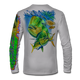 """Back view on pearl grey.  This shirt is truly awesome, featuring Jason Mathias's """"Mahi dolphin"""" fine art design sublimated onto our superior technology that definitely makes for a top favorite among all anglers and outdoor enthusiast world wide!  Say goodbye to sunburns and say hello to the supreme comfort of the Jason Mathias Solar Performance Long Sleeve shirt! This awesome shirt offers superior sun protection and performance qualities. So comfortable that you feel like you're not even wearing a shirt! Shirt doesn't snag or catch which makes it a must when doing what you do best! Featuring up to UPF +50 solar protection, the Solar Performance Long Sleeve is lightweight, comfortable, and sure to keep the sun's rays from penetrating through to your skin. This fabric is powered by PURE-tech™ moisture wicking technology which will keep you cooler in the summer and warmer in the winter.  Fabric: 4.1oz. 