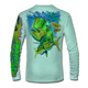 """Back view on seagrass green.  This shirt is truly awesome, featuring Jason Mathias's """"Mahi dolphin"""" fine art design sublimated onto our superior technology that definitely makes for a top favorite among all anglers and outdoor enthusiast world wide!  Say goodbye to sunburns and say hello to the supreme comfort of the Jason Mathias Solar Performance Long Sleeve shirt! This awesome shirt offers superior sun protection and performance qualities. So comfortable that you feel like you're not even wearing a shirt! Shirt doesn't snag or catch which makes it a must when doing what you do best! Featuring up to UPF +50 solar protection, the Solar Performance Long Sleeve is lightweight, comfortable, and sure to keep the sun's rays from penetrating through to your skin. This fabric is powered by PURE-tech™ moisture wicking technology which will keep you cooler in the summer and warmer in the winter.  Fabric: 4.1oz. 