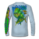 """Back view on arctic blue.  This shirt is truly awesome, featuring Jason Mathias's """"Mahi dolphin"""" fine art design sublimated onto our superior technology that definitely makes for a top favorite among all anglers and outdoor enthusiast world wide!  Say goodbye to sunburns and say hello to the supreme comfort of the Jason Mathias Solar Performance Long Sleeve shirt! This awesome shirt offers superior sun protection and performance qualities. So comfortable that you feel like you're not even wearing a shirt! Shirt doesn't snag or catch which makes it a must when doing what you do best! Featuring up to UPF +50 solar protection, the Solar Performance Long Sleeve is lightweight, comfortable, and sure to keep the sun's rays from penetrating through to your skin. This fabric is powered by PURE-tech™ moisture wicking technology which will keep you cooler in the summer and warmer in the winter.  Fabric: 4.1oz. 
