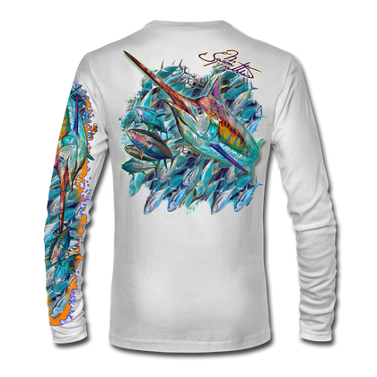 "Back view on white.   This shirt is truly awesome, featuring Jason Mathias's ""Sushi Roll Blue Marlin and Tuna ball"" fine art design sublimated onto our superior technology that definitely makes for a top favorite among all anglers and outdoor enthusiast world wide!   Say goodbye to sunburns and say hello to the supreme comfort of the Jason Mathias Solar Performance Long Sleeve shirt! This awesome shirt offers superior sun protection and performance qualities. So comfortable that you feel like you're not even wearing a shirt! Shirt doesn't snag or catch which makes it a must when doing what you do best! Featuring up to UPF +50 solar protection, the Solar Performance Long Sleeve is lightweight, comfortable, and sure to keep the sun's rays from penetrating through to your skin. This fabric is powered by PURE-tech™ moisture wicking technology which will keep you cooler in the summer and warmer in the winter."