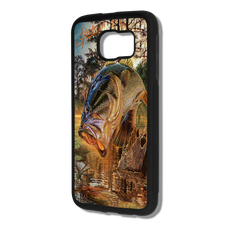 "Samsung Galaxy S7 fine art phone case"" by artist Jason Mathias: Carry around this unique piece of personalized art of a Largemouth Bass leaping out of the water after a dragonfly all while protecting your phone all at the same time!  Our phone cases provide superior quality with a layer of protection- outer ABS plastic shell and silicone rubber inside for shock absorption and a well shielded sublimated aluminum fine art plate that wont fade.  Case provides effective protection from everyday damage or any other unexpected situations.  (Made in the USA)"