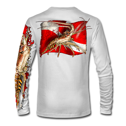 """Back view on white.  This shirt is truly awesome, featuring Jason Mathias's """"Spiny Lobster"""" fine art design sublimated onto our superior technology that definitely makes for a top favorite among all divers, freedivers and outdoor enthusiast world wide!  Say goodbye to sunburns and say hello to the supreme comfort of the Jason Mathias Solar Performance Long Sleeve shirt! This awesome shirt offers superior sun protection and performance qualities. So comfortable that you feel like you're not even wearing a shirt! Shirt doesn't snag or catch which makes it a must when doing what you do best! Featuring up to UPF +50 solar protection, the Solar Performance Long Sleeve is lightweight, comfortable, and sure to keep the sun's rays from penetrating through to your skin. This fabric is powered by PURE-tech™ moisture wicking technology which will keep you cooler in the summer and warmer in the winter.  Fabric: 4.1oz. 