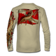 """Back view on tan.  This shirt is truly awesome, featuring Jason Mathias's """"Spiny Lobster"""" fine art design sublimated onto our superior technology that definitely makes for a top favorite among all divers, freedivers and outdoor enthusiast world wide!  Say goodbye to sunburns and say hello to the supreme comfort of the Jason Mathias Solar Performance Long Sleeve shirt! This awesome shirt offers superior sun protection and performance qualities. So comfortable that you feel like you're not even wearing a shirt! Shirt doesn't snag or catch which makes it a must when doing what you do best! Featuring up to UPF +50 solar protection, the Solar Performance Long Sleeve is lightweight, comfortable, and sure to keep the sun's rays from penetrating through to your skin. This fabric is powered by PURE-tech™ moisture wicking technology which will keep you cooler in the summer and warmer in the winter.  Fabric: 4.1oz. 