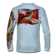 """Back view on pale blue.  This shirt is truly awesome, featuring Jason Mathias's """"Spiny Lobster"""" fine art design sublimated onto our superior technology that definitely makes for a top favorite among all divers, freedivers and outdoor enthusiast world wide!  Say goodbye to sunburns and say hello to the supreme comfort of the Jason Mathias Solar Performance Long Sleeve shirt! This awesome shirt offers superior sun protection and performance qualities. So comfortable that you feel like you're not even wearing a shirt! Shirt doesn't snag or catch which makes it a must when doing what you do best! Featuring up to UPF +50 solar protection, the Solar Performance Long Sleeve is lightweight, comfortable, and sure to keep the sun's rays from penetrating through to your skin. This fabric is powered by PURE-tech™ moisture wicking technology which will keep you cooler in the summer and warmer in the winter.  Fabric: 4.1oz. 