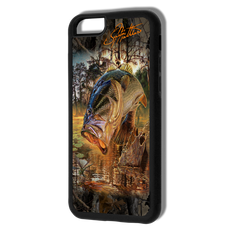 """iPhone 6 fine art phone case"" by artist Jason Mathias: Carry around this unique piece of personalized art of a big Lagemouth Bass ambushing a dragonfly while protecting your phone all at the same time!  Our phone cases provide superior quality- Silicone rubber case with a well shielded sublimated aluminum fine art plate that wont fade.  Case provides effective protection from dust, damage or any other unexpected situations.  (Made in the USA)"