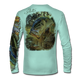 """Back view on seagrass green.  This shirt is truly awesome, featuring Jason Mathias's """"Dragon Slayer"""" fine art design sublimated onto our superior technology that definitely makes for a top favorite among all anglers and outdoor enthusiast world wide! This shirt portrays a huge Largemouth Bass leaping out of the cypress reflective water in pursuit of a swamp dragonfly.  Say goodbye to sunburns and say hello to the supreme comfort of the Jason Mathias Solar Performance Long Sleeve shirt! This awesome shirt offers superior sun protection and performance qualities. So comfortable that you feel like you're not even wearing a shirt! Shirt doesn't snag or catch which makes it a must when doing what you do best! Featuring up to UPF +50 solar protection, the Solar Performance Long Sleeve is lightweight, comfortable, and sure to keep the sun's rays from penetrating through to your skin. This fabric is powered by PURE-tech™ moisture wicking technology which will keep you cooler in the summer and warmer in the winter.  Fabric: 4.1oz. 