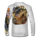 """Back view on white.  This shirt is truly awesome, featuring Jason Mathias's """"Dragon Slayer"""" fine art design sublimated onto our superior technology that definitely makes for a top favorite among all anglers and outdoor enthusiast world wide! This shirt portrays a huge Largemouth Bass leaping out of the cypress reflective water in pursuit of a swamp dragonfly.  Say goodbye to sunburns and say hello to the supreme comfort of the Jason Mathias Solar Performance Long Sleeve shirt! This awesome shirt offers superior sun protection and performance qualities. So comfortable that you feel like you're not even wearing a shirt! Shirt doesn't snag or catch which makes it a must when doing what you do best! Featuring up to UPF +50 solar protection, the Solar Performance Long Sleeve is lightweight, comfortable, and sure to keep the sun's rays from penetrating through to your skin. This fabric is powered by PURE-tech™ moisture wicking technology which will keep you cooler in the summer and warmer in the winter.  Fabric: 4.1oz. 