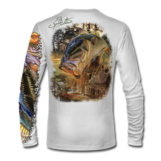 "Back view on white.  This shirt is truly awesome, featuring Jason Mathias's ""Dragon Slayer"" fine art design sublimated onto our superior technology that definitely makes for a top favorite among all anglers and outdoor enthusiast world wide! This shirt portrays a huge Largemouth Bass leaping out of the cypress reflective water in pursuit of a swamp dragonfly.  Say goodbye to sunburns and say hello to the supreme comfort of the Jason Mathias Solar Performance Long Sleeve shirt! This awesome shirt offers superior sun protection and performance qualities. So comfortable that you feel like you're not even wearing a shirt! Shirt doesn't snag or catch which makes it a must when doing what you do best! Featuring up to UPF +50 solar protection, the Solar Performance Long Sleeve is lightweight, comfortable, and sure to keep the sun's rays from penetrating through to your skin. This fabric is powered by PURE-tech™ moisture wicking technology which will keep you cooler in the summer and warmer in the winter.  Fabric: 4.1oz. 