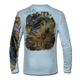 """Back view on pale blue.  This shirt is truly awesome, featuring Jason Mathias's """"Dragon Slayer"""" fine art design sublimated onto our superior technology that definitely makes for a top favorite among all anglers and outdoor enthusiast world wide! This shirt portrays a huge Largemouth Bass leaping out of the cypress reflective water in pursuit of a swamp dragonfly.  Say goodbye to sunburns and say hello to the supreme comfort of the Jason Mathias Solar Performance Long Sleeve shirt! This awesome shirt offers superior sun protection and performance qualities. So comfortable that you feel like you're not even wearing a shirt! Shirt doesn't snag or catch which makes it a must when doing what you do best! Featuring up to UPF +50 solar protection, the Solar Performance Long Sleeve is lightweight, comfortable, and sure to keep the sun's rays from penetrating through to your skin. This fabric is powered by PURE-tech™ moisture wicking technology which will keep you cooler in the summer and warmer in the winter.  Fabric: 4.1oz. 