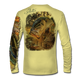 """Back view on pale yellow.  This shirt is truly awesome, featuring Jason Mathias's """"Dragon Slayer"""" fine art design sublimated onto our superior technology that definitely makes for a top favorite among all anglers and outdoor enthusiast world wide! This shirt portrays a huge Largemouth Bass leaping out of the cypress reflective water in pursuit of a swamp dragonfly.  Say goodbye to sunburns and say hello to the supreme comfort of the Jason Mathias Solar Performance Long Sleeve shirt! This awesome shirt offers superior sun protection and performance qualities. So comfortable that you feel like you're not even wearing a shirt! Shirt doesn't snag or catch which makes it a must when doing what you do best! Featuring up to UPF +50 solar protection, the Solar Performance Long Sleeve is lightweight, comfortable, and sure to keep the sun's rays from penetrating through to your skin. This fabric is powered by PURE-tech™ moisture wicking technology which will keep you cooler in the summer and warmer in the winter.  Fabric: 4.1oz. 