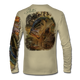 """Back view on tan.  This shirt is truly awesome, featuring Jason Mathias's """"Dragon Slayer"""" fine art design sublimated onto our superior technology that definitely makes for a top favorite among all anglers and outdoor enthusiast world wide! This shirt portrays a huge Largemouth Bass leaping out of the cypress reflective water in pursuit of a swamp dragonfly.  Say goodbye to sunburns and say hello to the supreme comfort of the Jason Mathias Solar Performance Long Sleeve shirt! This awesome shirt offers superior sun protection and performance qualities. So comfortable that you feel like you're not even wearing a shirt! Shirt doesn't snag or catch which makes it a must when doing what you do best! Featuring up to UPF +50 solar protection, the Solar Performance Long Sleeve is lightweight, comfortable, and sure to keep the sun's rays from penetrating through to your skin. This fabric is powered by PURE-tech™ moisture wicking technology which will keep you cooler in the summer and warmer in the winter.  Fabric: 4.1oz. 