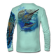 "Back view on seagrass green.  This shirt is truly awesome, featuring Jason Mathias's ""Running The Gauntlet and Wide Open"" which portrays a Blue Marlin and Sailfish slam! This fine art design is sublimated onto our superior technology that definitely makes for a top favorite among all anglers and outdoor enthusiast world wide!  Say goodbye to sunburns and say hello to the supreme comfort of the Jason Mathias Solar Performance Long Sleeve shirt! This awesome shirt offers superior sun protection and performance qualities. So comfortable that you feel like you're not even wearing a shirt! Shirt doesn't snag or catch which makes it a must when doing what you do best! Featuring up to UPF +50 solar protection, the Solar Performance Long Sleeve is lightweight, comfortable, and sure to keep the sun's rays from penetrating through to your skin. This fabric is powered by PURE-tech™ moisture wicking technology which will keep you cooler in the summer and warmer in the winter.  Fabric: 4.1oz. 