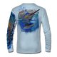"Back view on pale blue.  This shirt is truly awesome, featuring Jason Mathias's ""Running The Gauntlet and Wide Open"" which portrays a Blue Marlin and Sailfish slam! This fine art design is sublimated onto our superior technology that definitely makes for a top favorite among all anglers and outdoor enthusiast world wide!  Say goodbye to sunburns and say hello to the supreme comfort of the Jason Mathias Solar Performance Long Sleeve shirt! This awesome shirt offers superior sun protection and performance qualities. So comfortable that you feel like you're not even wearing a shirt! Shirt doesn't snag or catch which makes it a must when doing what you do best! Featuring up to UPF +50 solar protection, the Solar Performance Long Sleeve is lightweight, comfortable, and sure to keep the sun's rays from penetrating through to your skin. This fabric is powered by PURE-tech™ moisture wicking technology which will keep you cooler in the summer and warmer in the winter.  Fabric: 4.1oz. 