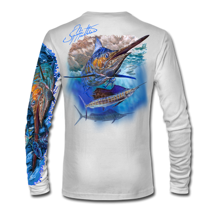 "Back view on white.   This shirt is truly awesome, featuring Jason Mathias's ""Running The Gauntlet and Wide Open"" which portrays a Blue Marlin and Sailfish slam! This fine art design is sublimated onto our superior technology that definitely makes for a top favorite among all anglers and outdoor enthusiast world wide!  Say goodbye to sunburns and say hello to the supreme comfort of the Jason Mathias Solar Performance Long Sleeve shirt! This awesome shirt offers superior sun protection and performance qualities. So comfortable that you feel like you're not even wearing a shirt! Shirt doesn't snag or catch which makes it a must when doing what you do best! Featuring up to UPF +50 solar protection, the Solar Performance Long Sleeve is lightweight, comfortable, and sure to keep the sun's rays from penetrating through to your skin. This fabric is powered by PURE-tech™ moisture wicking technology which will keep you cooler in the summer and warmer in the winter.  Fabric: 4.1oz. 