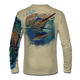"Back view on tan.  This shirt is truly awesome, featuring Jason Mathias's ""Running The Gauntlet and Wide Open"" which portrays a Blue Marlin and Sailfish slam! This fine art design is sublimated onto our superior technology that definitely makes for a top favorite among all anglers and outdoor enthusiast world wide!  Say goodbye to sunburns and say hello to the supreme comfort of the Jason Mathias Solar Performance Long Sleeve shirt! This awesome shirt offers superior sun protection and performance qualities. So comfortable that you feel like you're not even wearing a shirt! Shirt doesn't snag or catch which makes it a must when doing what you do best! Featuring up to UPF +50 solar protection, the Solar Performance Long Sleeve is lightweight, comfortable, and sure to keep the sun's rays from penetrating through to your skin. This fabric is powered by PURE-tech™ moisture wicking technology which will keep you cooler in the summer and warmer in the winter.  Fabric: 4.1oz. 