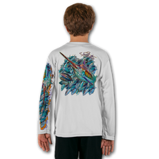 White  Stay cool with Jason Mathias's popular line of T-shirts for boys and girls! Catch your kids a Jason Mathias youth tee to match the one that you have, or help inspire their love for their favorite fish species like this awesome scene featuring a colorful Blue Marlin all lit up with a giant school of Tuna. This fine art design is sublimated using superior technology that definitely makes for a top favorite among all young anglers and outdoor enthusiasts worldwide!  Say goodbye to sunburns and hello to the supreme comfort of the Jason Mathias youth Solar Performance Long Sleeve shirt! This awesome shirt offers superior sun protection and performance qualities. It is so comfortable that you will feel like you're not even wearing a shirt! Our shirts don't snag or catch, which makes it a must when doing what you do best! Featuring up to UPF +50 solar protection, the Solar Performance Long Sleeve is lightweight, comfortable, and sure to keep the sun's rays from penetrating through to your skin. This fabric is powered by PURE-tech™ moisture wicking technology which will keep you cooler in the summer and warmer in the winter.  Fabric: 4.1oz. / 100% Performance w/ UPF Protection  Made in USA
