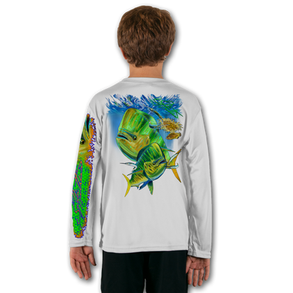 White  Stay cool with Jason Mathias's popular line of T-shirts for boys and girls! Catch your kids a Jason Mathias youth tee to match the one that you have, or help inspire their love for their favorite fish species like this awesome scene featuring a brightly colorful Mahi, Dorado or Dolphin Fish stalking the sargassum week lines in search for some Ballyhoo. This fine art design is sublimated using superior technology that definitely makes for a top favorite among all young anglers and outdoor enthusiasts worldwide!  Say goodbye to sunburns and hello to the supreme comfort of the Jason Mathias youth Solar Performance Long Sleeve shirt! This awesome shirt offers superior sun protection and performance qualities. It is so comfortable that you will feel like you're not even wearing a shirt! Our shirts don't snag or catch, which makes it a must when doing what you do best! Featuring up to UPF +50 solar protection, the Solar Performance Long Sleeve is lightweight, comfortable, and sure to keep the sun's rays from penetrating through to your skin. This fabric is powered by PURE-tech™ moisture wicking technology which will keep you cooler in the summer and warmer in the winter.  Fabric: 4.1oz. / 100% Performance w/ UPF Protection  Made in USA